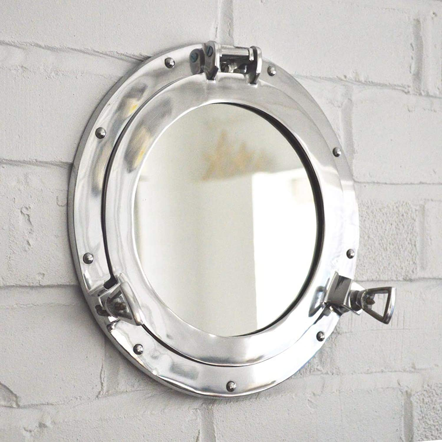 Hind Handicrafts Wall Mounted Vintage Nautical Ship Porthole Mirror for Home Decor   Pirate's Maritime Nautical Themed Decor   Vanity Mirror (20 INCHES, Nickel Chrome)