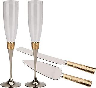 Elegant Gold Hammered Toasting Flutes and Cake Knife Server Set