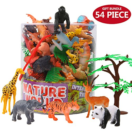 ValeforToy Animals Figure,54 Piece Mini Jungle Animals Toys Set with Gift Box, Realistic Wild Animal Learning Party Favors Toys for Boys Girls Kids Toddlers Forest Small Farm Animals Toys Playset