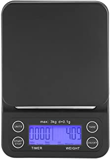 3KG/0.1g Electronic LCD Digital Kitchen Food Scale Drip Coffee Weighing with Timer(Bluish Violet)