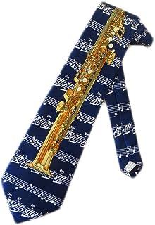 Fratello Mens Soprano Saxophone Necktie - Navy Blue - One Size Neck Tie