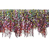 Expo International Fiber Patch Cut Fringe Trim, 10 yd, Lavender/Multicolor