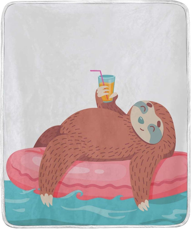 Senya Luxury Blanket Home Decor Cartoon Sloth Throw Blanket Lightweight Microfiber Super Soft Warm Cozy Plush Bed Blanket 60 x 50 Inches