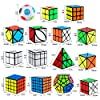 Dreampark Speed Cube Set, 15 Pack Cube Bundle 2x2 3x3 4x4 5x5 Megaminx Pyramid Skew Ivy Windmill Fisher Axis Dino Mirror Cube Magic Rainbow Ball Sticker Cube Puzzle Collection for Kids #3