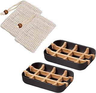 Queta - Portasapone in Fibra di bambù, 2 Pezzi, sostenibile, Porta saponetta, Porta Sapone con vaschetta raccogli Gocce in...
