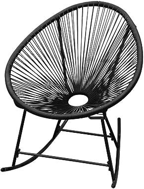 Unfade Memory Outdoor Rocking Chair Rattan Rocker Porch Lounge Chairs Garden Patio Balcony Pool Indoor (Black)