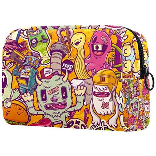 Digital Art Grand sac à cosmétiques de voyage pour femme – Trousse de toilette et maquillage avec de nombreuses poches Multi01 18.5x7.5x13cm/7.3x3x5.1in