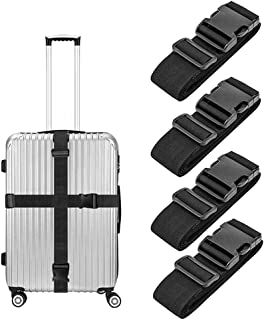 4 Pack Luggage Straps, Adjustable Suitcase Belts, Briskyloom Heavy Duty Non-Slip Travel Luggage Straps, TSA Approved With Quick-release Buckle Travel Accessories Bag Straps (Black)