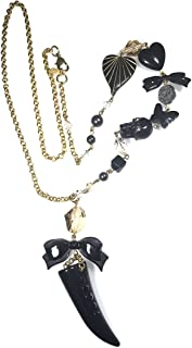 Black Lucite Tusk Skull Bow Swarovski Crystal Charm Necklace