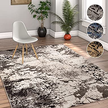 Splash Grey & Beige Modern Abstract Geometric Paint Brush Stroke 4x6 ( 3'11  x 5'7  ) Area Rug Neutral Vintage Thick Soft Plush Shed Free