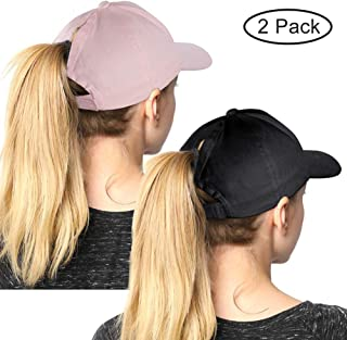 1b9ff100 High Ponytail Hole Baseball Hats Cap for Women,Messy Bun Hat Adjustable  Cotton and Mesh