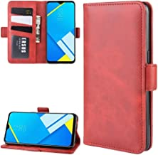 For Oppo A1k / Realme C2 Double Buckle Crazy Horse Business Mobile Phone Holster with Card Wallet Bracket Function New(Black) Wangyyy (Color : Red)