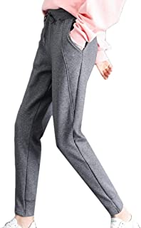 Women's Sweatpants Fleece Lined Solid Drawstring High Waist Casual Warm Long Sport Pants