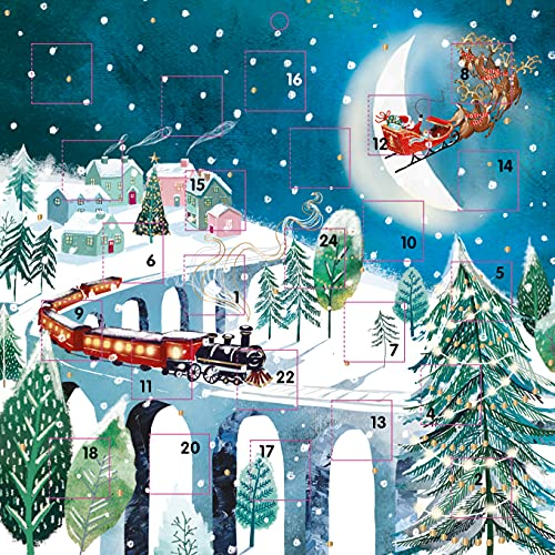 Advent Calendar Christmas Journey Father Christmas Sleigh and Train on Viaduct with 24 Doors and White Mailing Envelope 230 mm x 230 mm