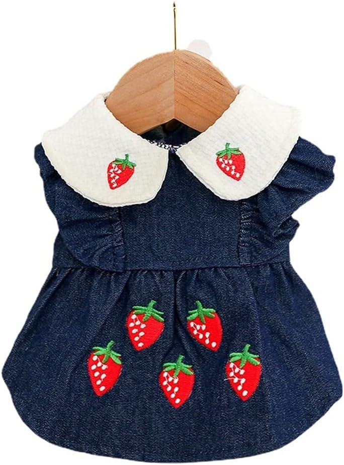 CIJK Strawberry Print Dog Denim Jeans Skirts Ranking TOP13 Sprin Max 69% OFF Dress Ruffles