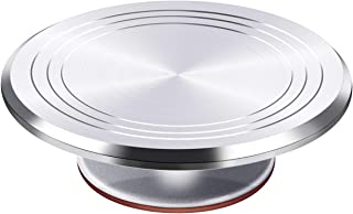 Puroma Aluminium Alloy Rotating Cake Turntable 12'' Revolving Cake Stand with Non-slipping Silicone Bottom, Ideal Cake Decorating Supply for Cake Decorations, Pastries and Cupcakes