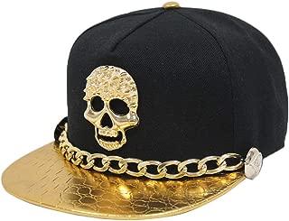 Unisex 3D Metal Stud Adjustable Flat Bill Snapback Baseball Punk Cap Hat