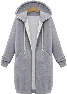 Your Gallery Women's Casual Long Hoodies Sweatshirt Coat Pockets Zip up Outerwear Hooded Jacket Plus Size Tops,Light Grey,5XL