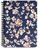 Vera Bradley Navy Floral Mini Spiral Notebook with Pocket and 160 Lined Pages, Cut Vines