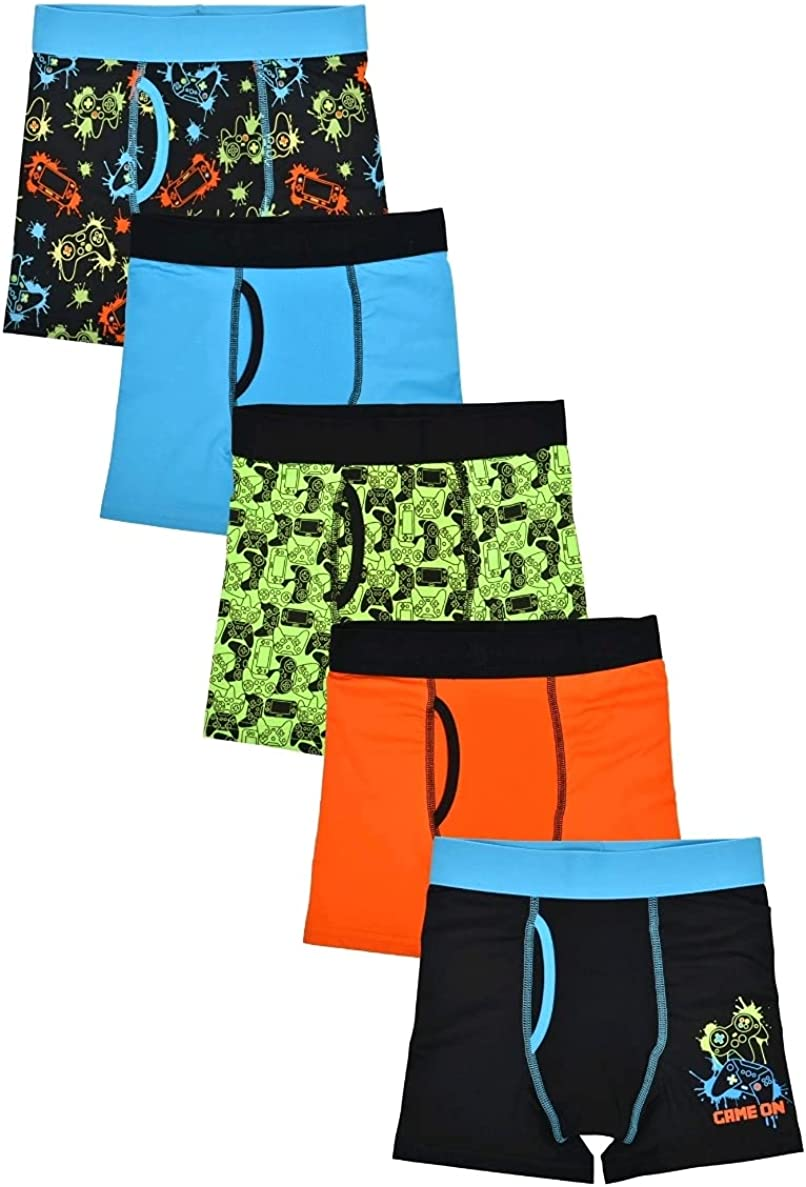 Athletic Work Boy's Dino Prints DriWorks 5 Pack Performance Boxer Briefs