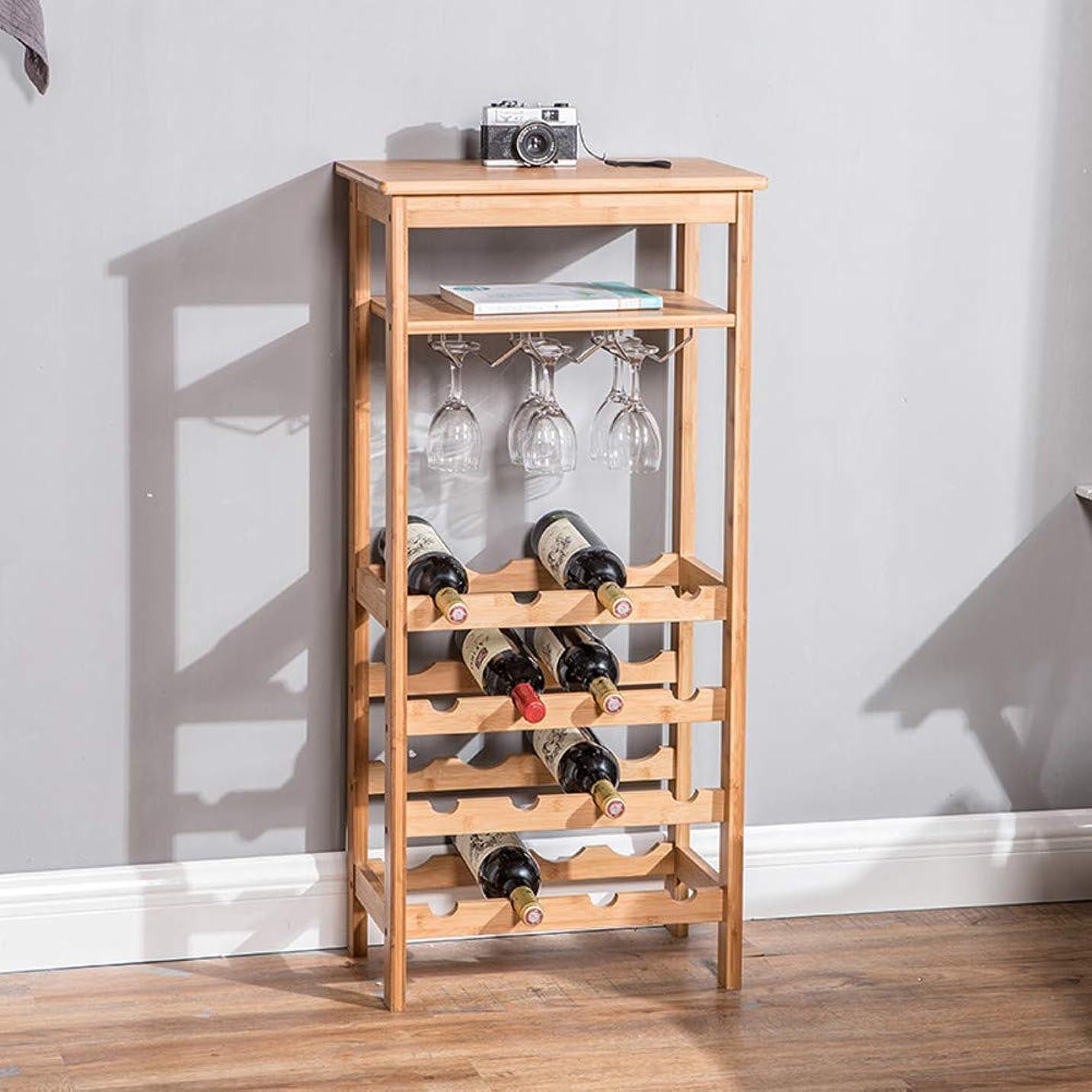 文協力する暴力竹ワインボトルラック, キッチンバー用ワイングラスホルダー棚付き4段フリースタンディングホルダー収納棚 -原色 47×29×99.5cm