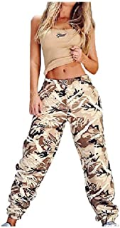 Womens Floral Spring Baggy Long Pants Smocked Waist Active Harem Pants