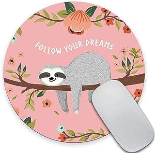 Cute Baby Sloth Meditation Lotus Flower Yoga Asana Positions Motivational Fun Wknoon Sloth Mouse Pad Pink Brown Grey Rectangle Non-Slip Rubber Mousepad