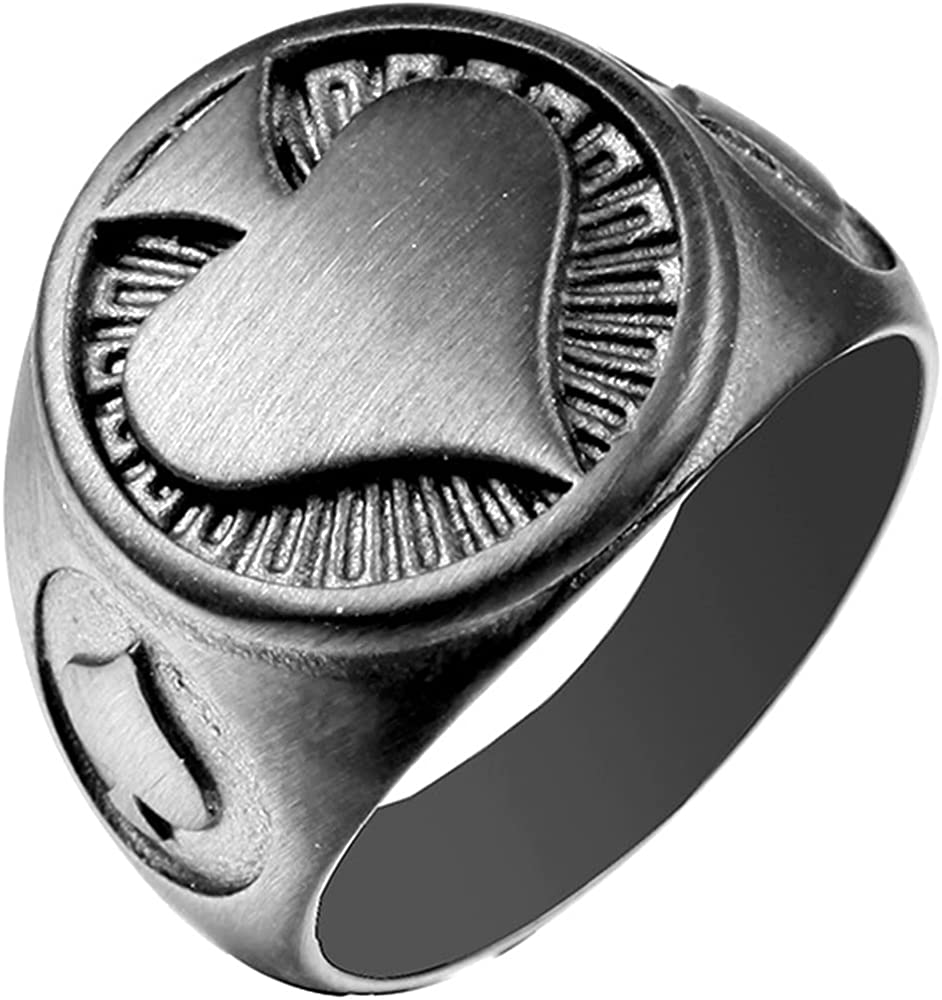 Stainless Steel Black Spade Round Signet Style Poker Games Cocktail Party Biker Holiday Ring