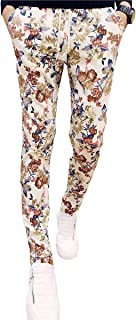 QZH.DUAO EMAOR Floral Printed Casual Pants Slim Fit Flower Trousers for Men