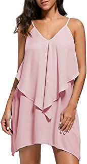 Sexy Dresses for Women,Fashion Womens Sleeveless Overlay Flowy Ruffles V-Neck Solid Camis Mini Dress
