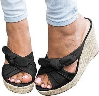 Womens Platform Wedge Espadrille Slides Slip on Heeled Tie Knot Open Toe Sandals