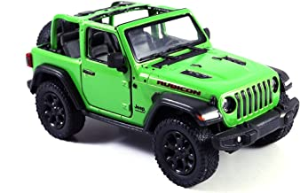 HCK Jeep Wrangler Rubicon 4x4 Convertible Off Road Exploration Diecast Model Toy Car Green
