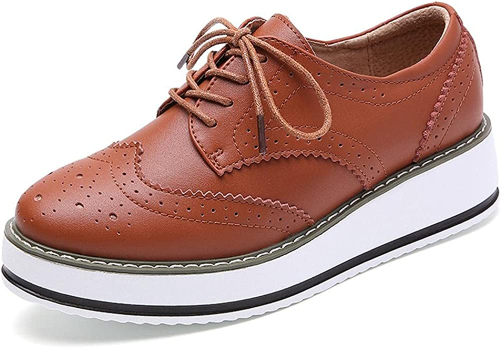 mikarka Women's Perforated Lace-Up Wingtip Flat Oxfords Vintage Round Toe Low Chunky Heel Platform Brogues Pumps Shoes