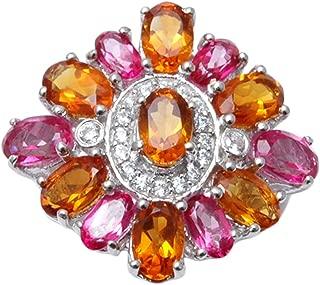 Banithani 925 Sterling Silver Madira Madira Citrine And Pink Topaz Stone Finger Ring Fashion Jewelry