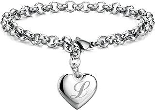 Initial Charm Bracelets Stainless Steel Heart 26 Letters Alphabet Bracelet for Women