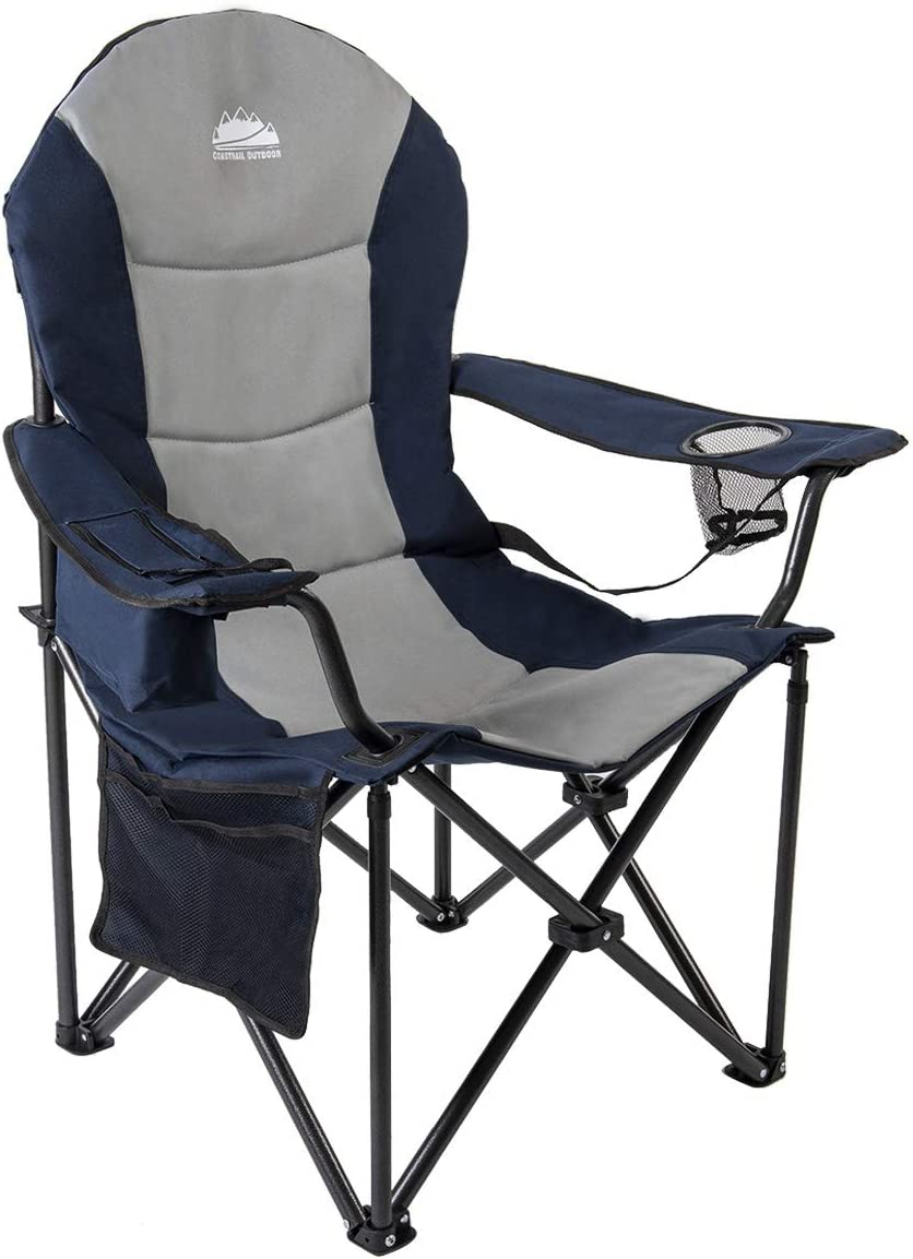Coastrail Outdoor Camping Chair with Lumbar Back Support, Oversized Padded Lawn Chair Folding Quad Arm Chair with Cooler Bag, Cup Holder & Side Pocket, Supports 400lbs, Grey, XXL