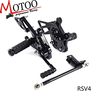 Frames & Fittings Motoo - Full CNC Aluminum Motorcycle Adjustable Rearsets Rear Sets Foot Pegs for Aprilia Rsv4 Rsv 4 2009-2011