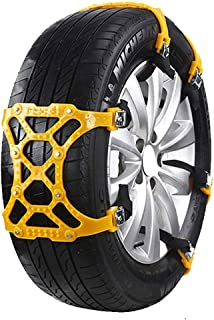 Universal Car Anti-Skid Snow Chains - Car Tire Snow Chains Portable Easy to Mount Emergency Traction Car Snow Tyre Chains Universal for most automotive SUV trucks ( Color : Yellow , Size : 3 pieces )