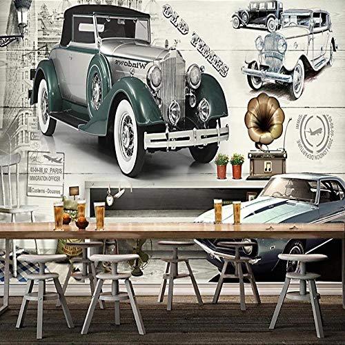Papel Tapiz Fotográfico Retro Europeo Nostálgico Coche Clásico Graffiti Mural Restaurante Café Fondo Decoración De Pared 200(L) x140(H) cm