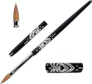 BQAN 3D Nail Art Brush Kolinsky Hair, Acrylic Nail Brush Metal Handle Rhinestone Design Size 4/6/8#, Natural & Professonal Nail Art Tools (8#)