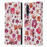 Head Case Designs Licenciado Oficialmente Ninola Dots Red Floral Patterns Carcasa de Cuero Tipo Libro Compatible con Huawei Nova 5T