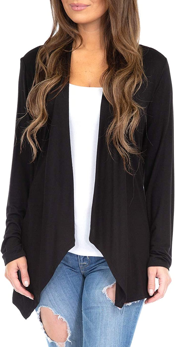 Women's Draped Open Front Cardigan for Casual Wear- Made in USA