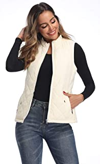Lightweight Stand Collar Zip Pockets Gilet Quilted Puffy Vest for Women