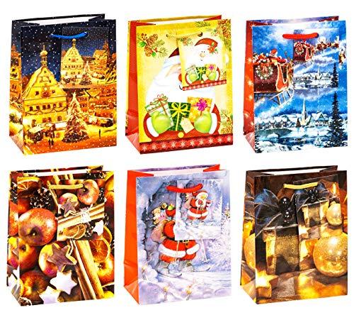 TSI 84027 Sacchetti da Regalo, 6 Motivi di Natale, Misura 14X 11 X 6,5 Cm, Confezione da 12 Pezzi