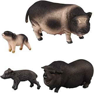 HOMNIVE Pig Figures - 4pcs Realistic Animals Action Model Includes Belly Pig, Black Pig, Vietnam Sow, Mini Flower Pig- Educational Learning Toys Birthday Gift Set for Boys Girls Kids Toddlers