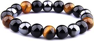 Bracciale Lion & Son Gaia - Occhio di tigre da uomo nero naturale perla gioiello vintage rock bracciale alla moda onic...