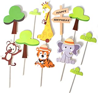 11 Pcs Jungle Animal Happy Birthday Cake Toppers Elephant Giraffe Tiger Monkey Cake Decorations Animals Party Baby Showers...
