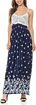 Auliné Collection Womens Crochet Lace Print Halter Strap Loose Long Maxi Dress