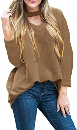 1789307dd6 Lovaru Womens Knit Choker Neck Tops Fall Batwing Sleeve Ribbed Loose  Pullover Sweater Blouse
