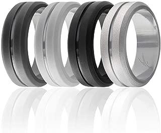Silicone Wedding Ring for Men, Elegant, Affordable 8mm Silicone Rubber Wedding Bands, Singles & 4 Pack, Brushed Top Beveled Edges - Black, Metal Silver, Dark Gray